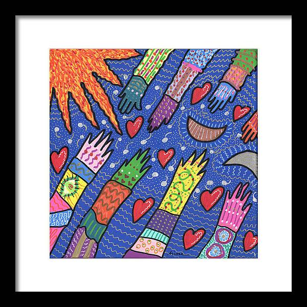 Bright Framed Print featuring the painting Community by Sharon Nishihara