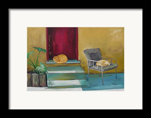 Cat Framed Print featuring the painting Companions by Karen Doyle