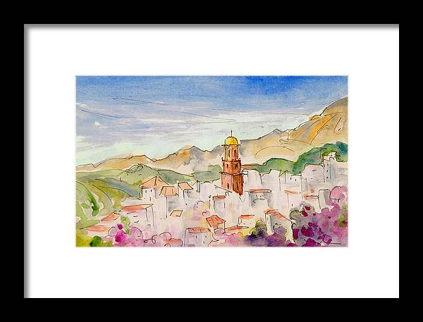 Travel Framed Print featuring the painting Competa 03 by Miki De Goodaboom