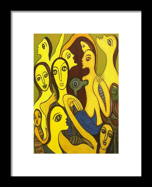 Painting Framed Print featuring the painting Competition by Nabakishore Chanda