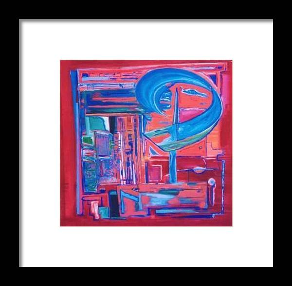 Red Framed Print featuring the painting Composicion Azul by Michael Puya