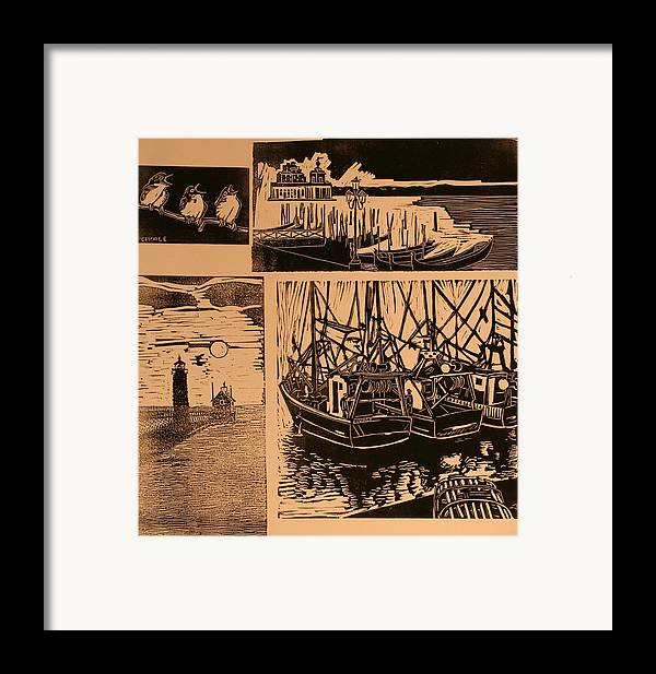 Framed Print featuring the print Composite Of Four Woodcuts by Biagio Civale