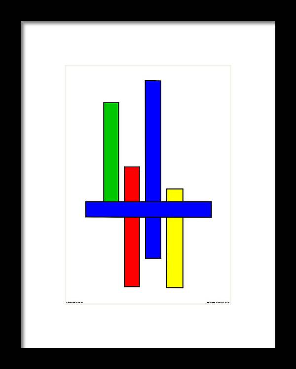 Framed Print featuring the digital art Composition 3 by Asbjorn Lonvig