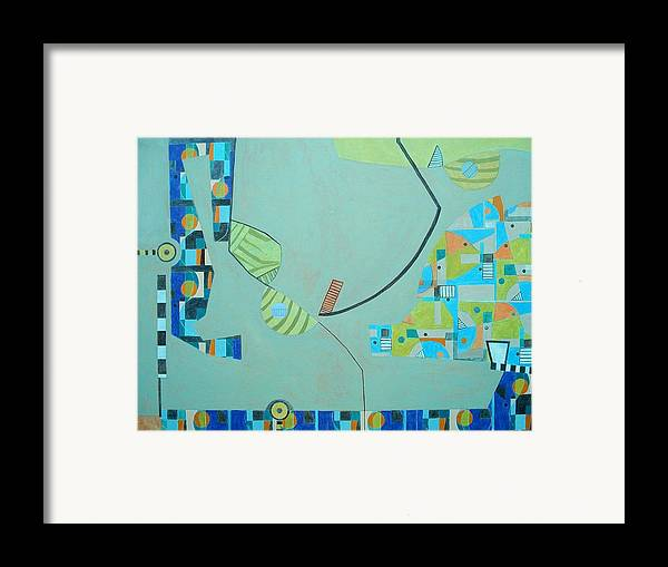Abstract Framed Print featuring the painting Composition II-07 by Maria Parmo