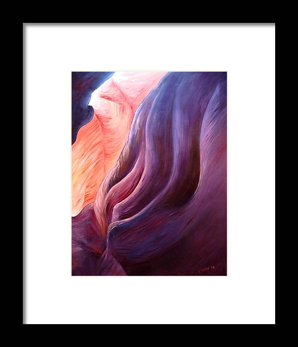 Abstract Framed Print featuring the painting Composition In Purple And Orange by Scott Plaster