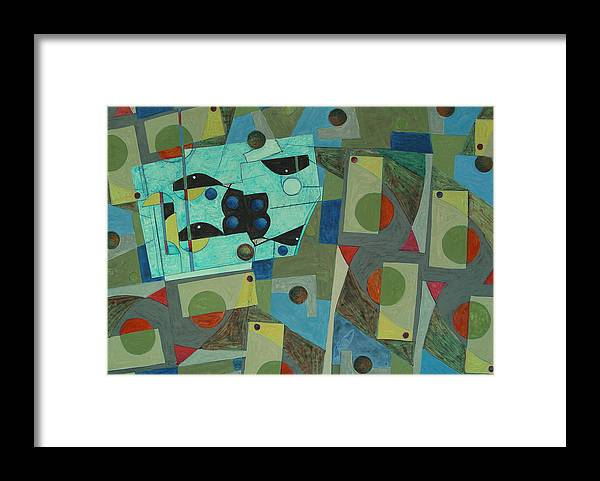 Abstract Framed Print featuring the painting Composition Xxv 07 by Maria Parmo
