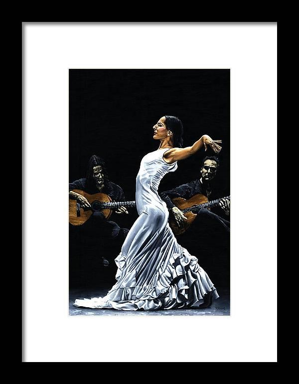 Flamenco Framed Print featuring the painting Concentracion Del Funcionamiento Del Flamenco by Richard Young