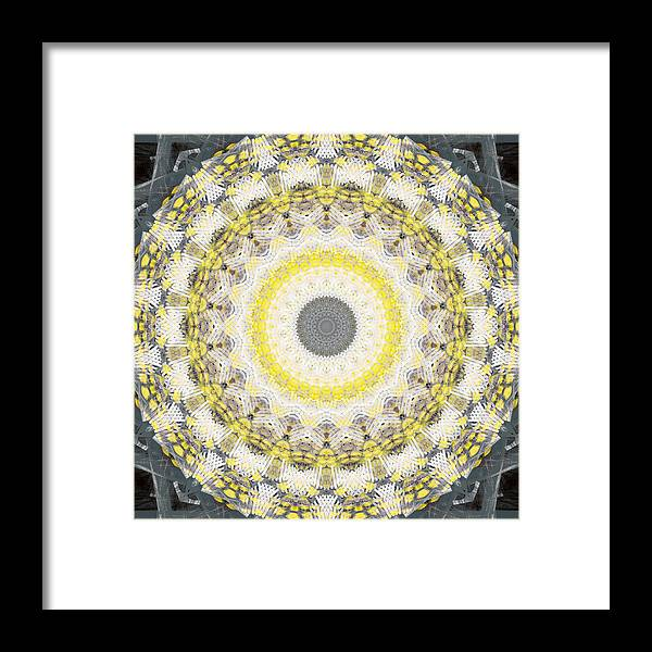 Concrete Framed Print featuring the painting Concrete And Yellow Mandala- Abstract Art By Linda Woods by Linda Woods