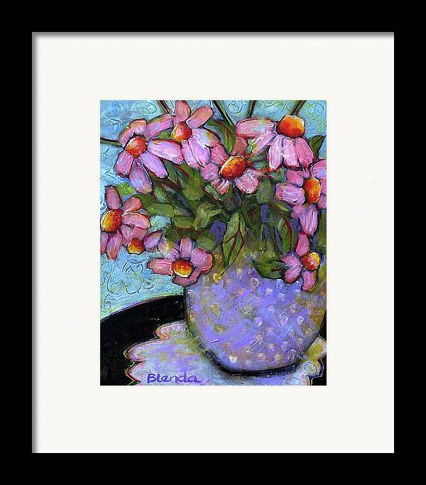Flowers Framed Print featuring the painting Coneflowers In Lavender Vase by Blenda Studio