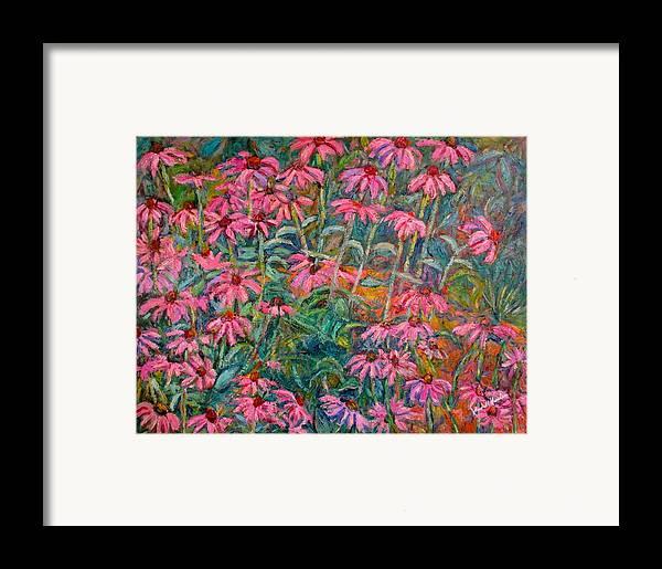 Kendall Kessler Framed Print featuring the painting Coneflowers by Kendall Kessler