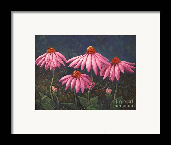 Floral Framed Print featuring the painting Coneflowers by Laura Roberts