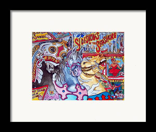 Horses Framed Print featuring the print Coney Island Runaway by Bette Gray