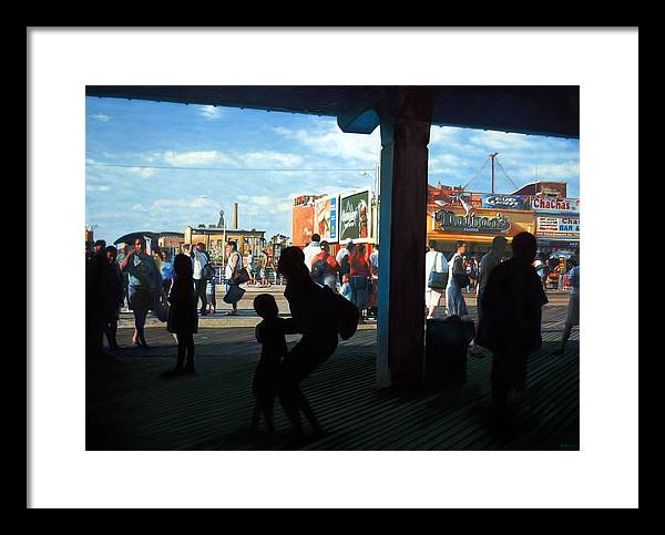 Coney Island Framed Print featuring the painting Coney Island Stroll by Randy Ford