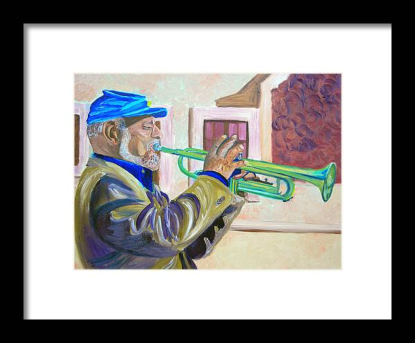 Street Musician Framed Print featuring the painting Confederate Bugular by Michael Lee