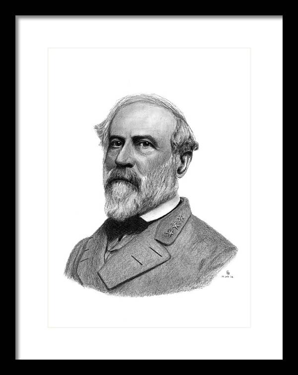 Confederate Framed Print featuring the drawing Confederate General Robert E Lee by Charles Vogan