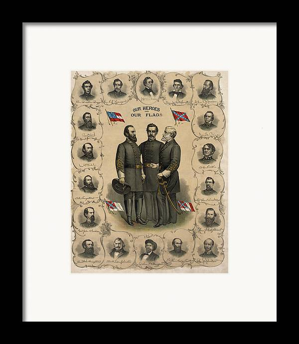 Confederate Framed Print featuring the painting Confederate Generals Of The Civil War by War Is Hell Store