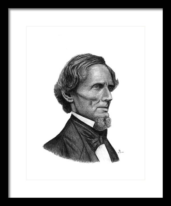 Confederate Framed Print featuring the drawing Confederate President Jefferson Davis by Charles Vogan