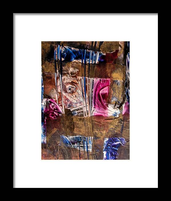 Abstract Framed Print featuring the painting Confined by John Vandebrooke