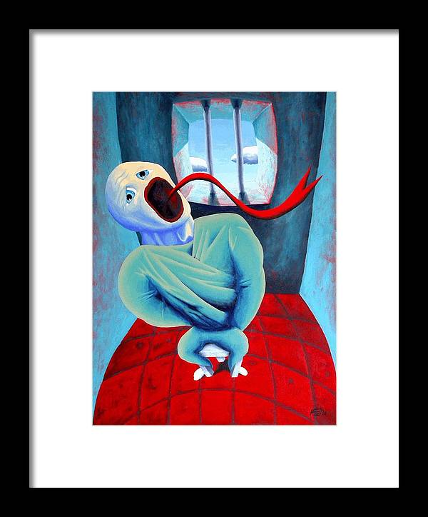 Scream Surreal Jail Dream Framed Print featuring the painting Confined by Poul Costinsky