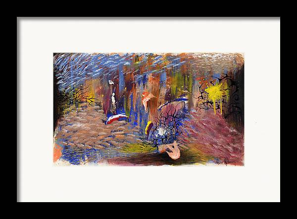 Abstract Framed Print featuring the painting Confrontation by Nathaniel Hoffman