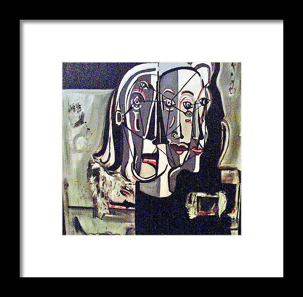 Abstract Portrait Modern Art Framed Print featuring the painting Connected by DC Campbell