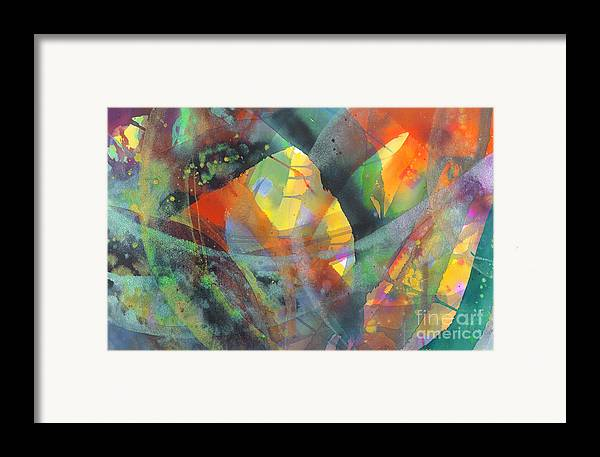 Abstract Framed Print featuring the painting Connections by Lucy Arnold