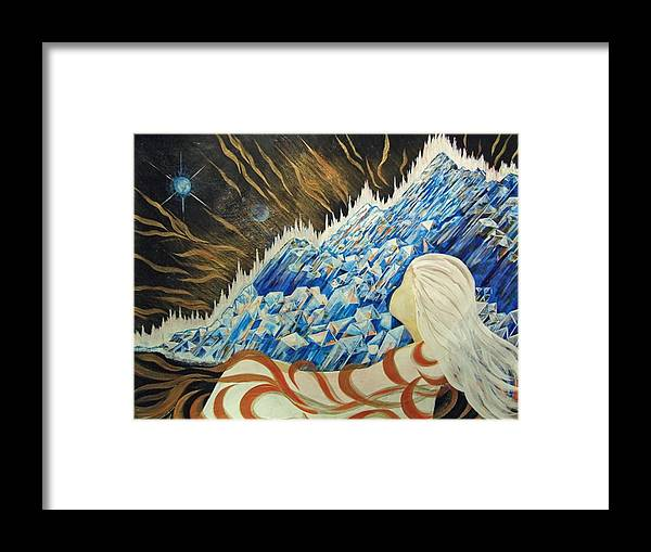 Girl Suspended By Ribbons Of Energy Framed Print featuring the painting Conscious Dream by Pam Ellis