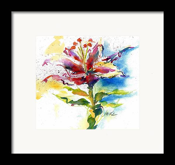 Spontaneous Framed Print featuring the painting Consider The Lily by Jacki Kellum