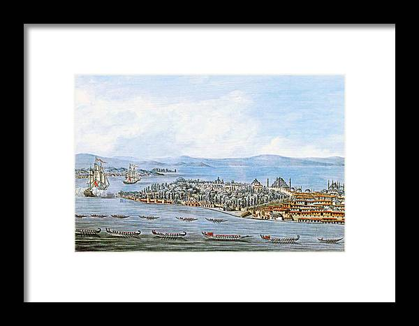 Constantinople Framed Print featuring the painting Constantinople Ships by Munir Alawi