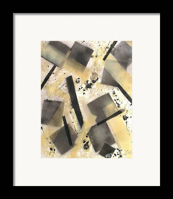 Abstract Framed Print featuring the painting Construction In Cream by Evguenia Men