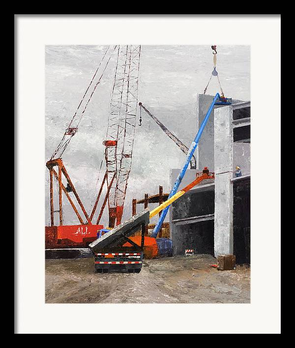 Chicago Cityscape Framed Print featuring the painting Construction Study In Grey by Nancy Albrecht