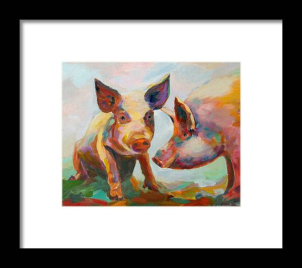 Pigs Framed Print featuring the painting Consultation by Naomi Gerrard