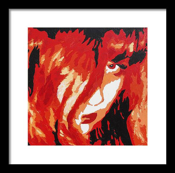 Portrait Framed Print featuring the painting Consumed by Ricklene Wren