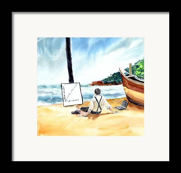 Landscape Framed Print featuring the painting Contemplation by Anil Nene