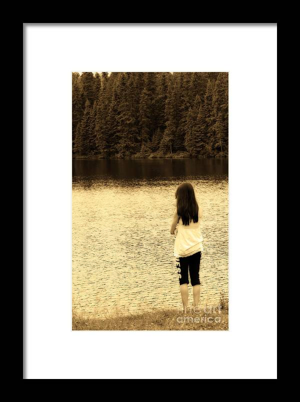 Sepia Framed Print featuring the photograph Contemplation by Cathy Beharriell