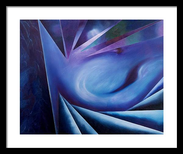 Abstract Geometry Framed Print featuring the painting Contemplation Of The Cleft Between The Worlds by Ara Elena