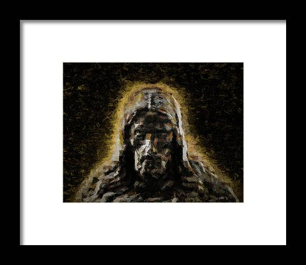 Jesus Framed Print featuring the digital art Contemplative Christ by Barry Wills