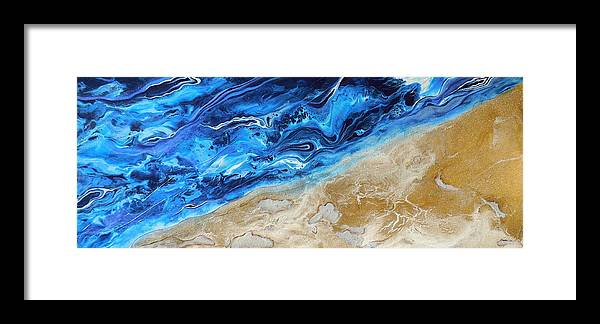 Contemporary Water Framed Print featuring the painting Contemporary Abstract Beach Nacl by Halcyon Fineart