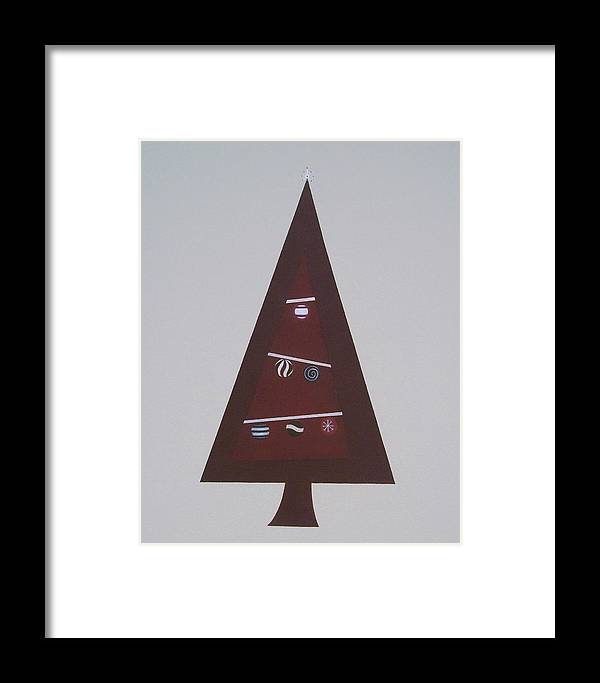 Abstract Christmas Framed Print featuring the painting Contemporary Christmas Tree by Sandy Bostelman