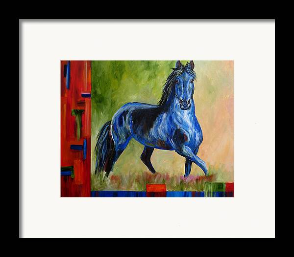 Horse Framed Print featuring the painting Contemporary Horse Painting Fresian by Mary Jo Zorad