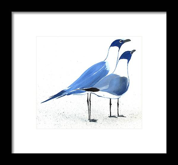 A Couple Of Sea Birds Standing Still.  This Is A Contemporary Chinese Ink And Color On Rice Paper Painting With Simple Zen Style Brush Strokes.  Framed Print featuring the painting Content by Mui-Joo Wee