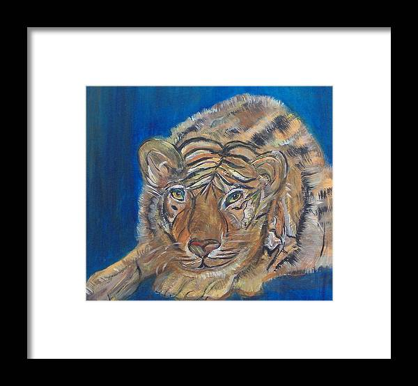 Tiger Framed Print featuring the painting Contented Tiger by Mikki Alhart