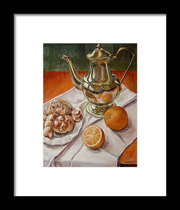 Continental Breakfast Framed Print featuring the painting Continental Breakfast by JoAnne Castelli-Castor