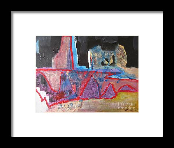Abstract Paintings Framed Print featuring the painting Contradiction Of Time by Seon-Jeong Kim
