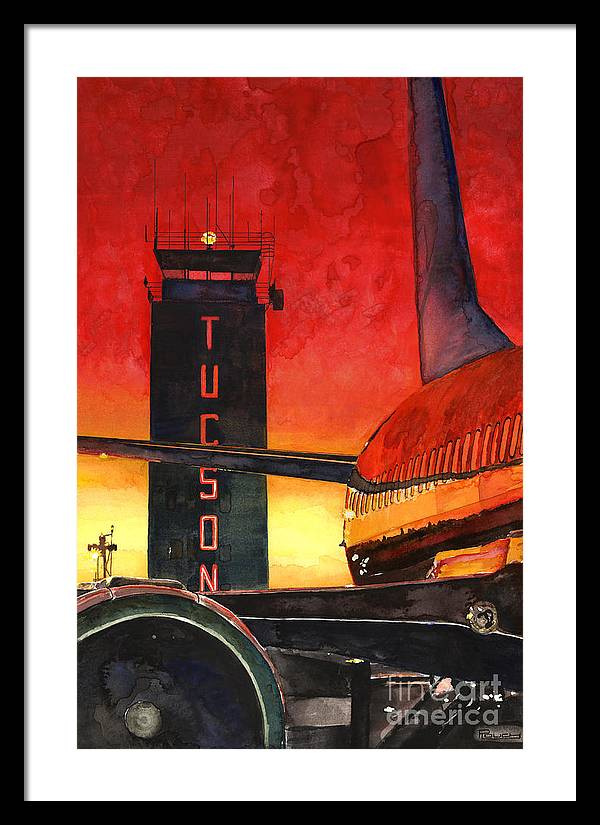 Tucson Framed Print featuring the painting Control Tower by Michelle Rouch