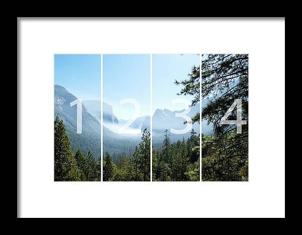 El Capitan Framed Print featuring the digital art Controlled Burn Of Yosemite Panoramic Map by Michael Bessler