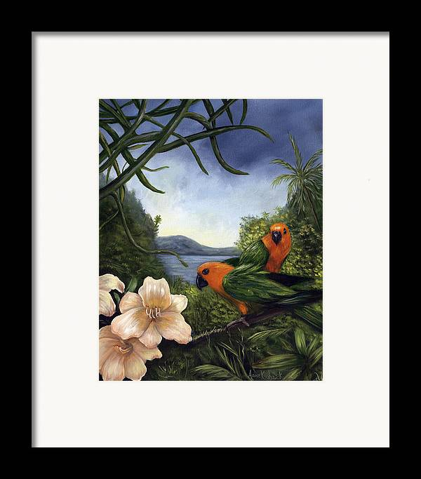Landscape Framed Print featuring the painting Conures by Anne Kushnick