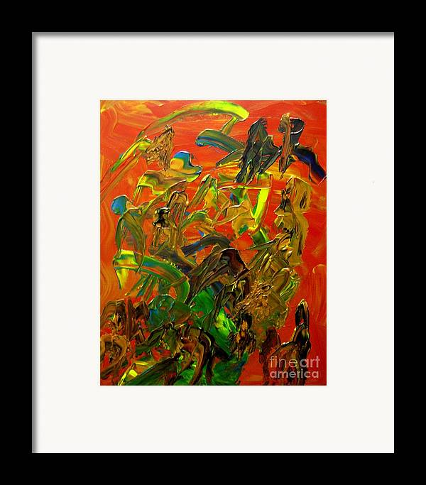 Abstract Framed Print featuring the painting Conversations by Karen L Christophersen