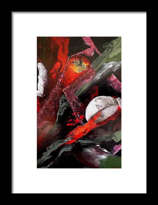 Framed Print featuring the painting Cooking Gazpacho by Evguenia Men