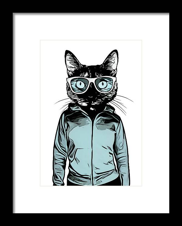 Cat Framed Print featuring the mixed media Cool Cat by Nicklas Gustafsson